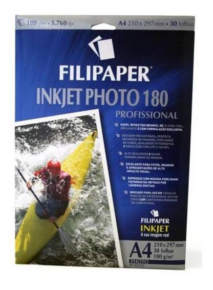Papel Foto Ink Jet Alto Brilho 180g A4 30 Fls Filipaper