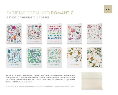Tarjetas De Saludo Romantic X 10 - Mil Letterpress -cumple