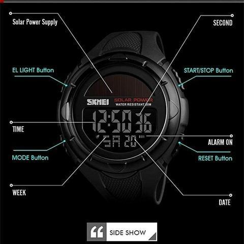 Relógio Esportivo Digital Luz Solar Skmei Promoção Sem Juros