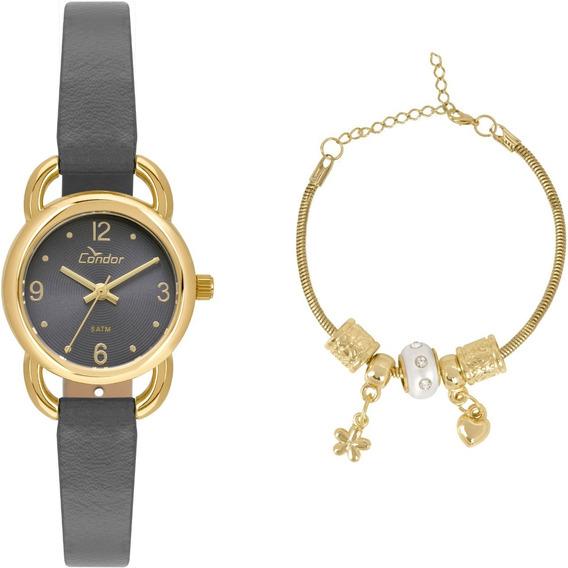 Relógio Feminino Kit Condor Dourado Pequeno Co2035kxg/k2a