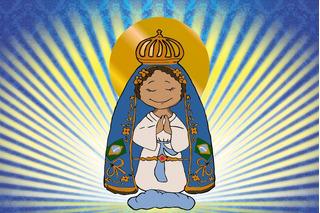Painel De Festa Em Lona Nossa Senhora Aparecida 2,00x1,50 Cm