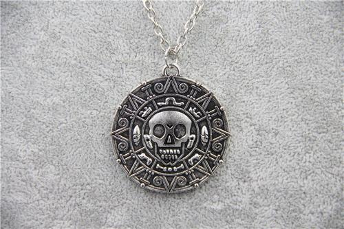 Colar Piratas Do Caribe Jack Sparrow Medalha Azteca Prata