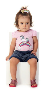 Roupa Bebê Menina Conjunto Body E Shorts Unicórnio Abrange
