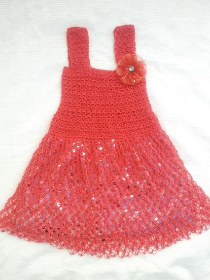Vestido Artesanal Mexicano Para Niña Tejido A Mano Coral