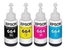 Kit 4 Refis Tinta Epson L355 L200 L210 L365 L455 L555 L375