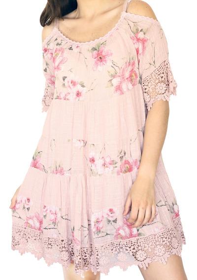 Vestido Floreado Corto Rosa