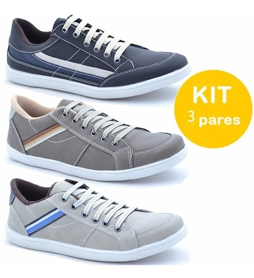 Kit 3 Pares Sapatenis Casual Masculino Bergally Top