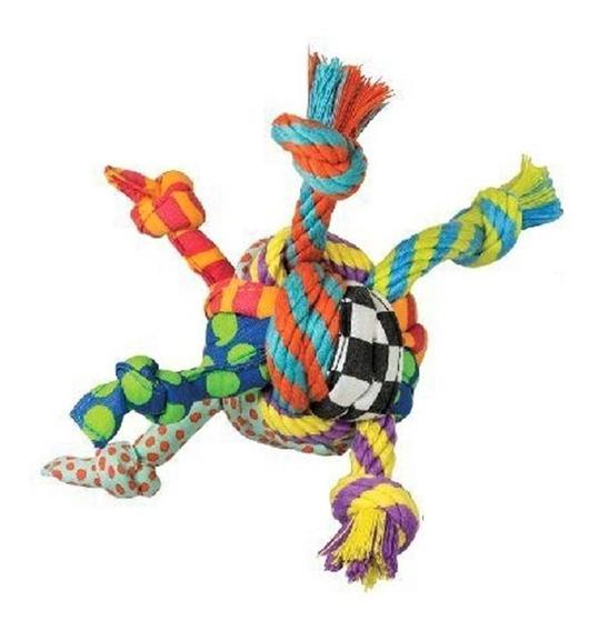 Brinquedo Bola P/ Cachorro 8 Cm Com Pontas Em Corda E Tecido
