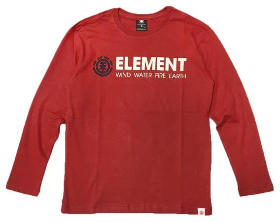 Remera M/l Element Blazin Long Tee Bordó Niño