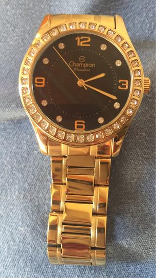 Champion Dourado Com Pedras, Relógio Na Caixa