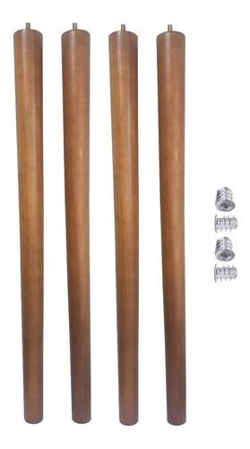Kit 4 Pé Palito 70cm Amendoa Marrom Claro + Bucha Americana