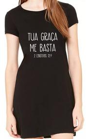Vestido Tua Graça Me Basta Frases Gospel Evangélico Feminino