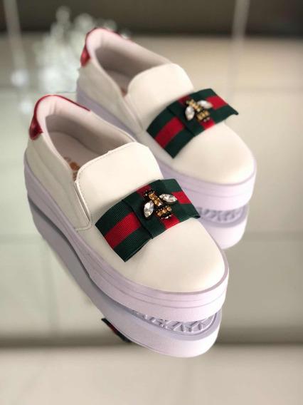 Tenis Primeshoes Gucci Inspired Com Abelhinha Em Strass