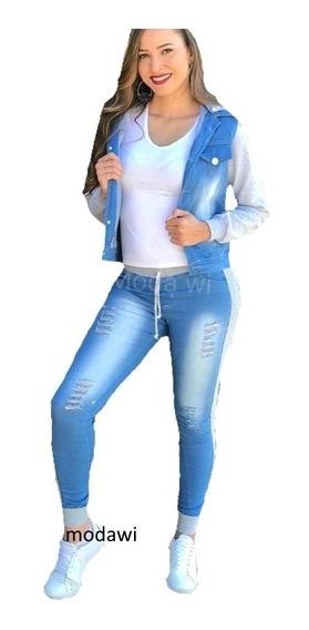 Conjunto Feminino Calça + Jaqueta Jeans Moletom Inverno