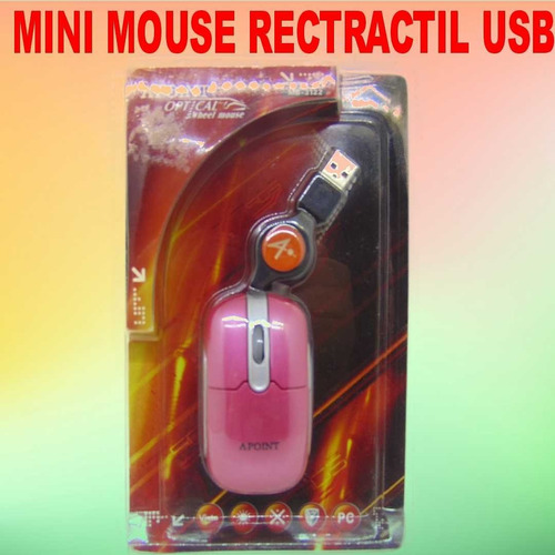 Mouse Usb Con Cable Rosado
