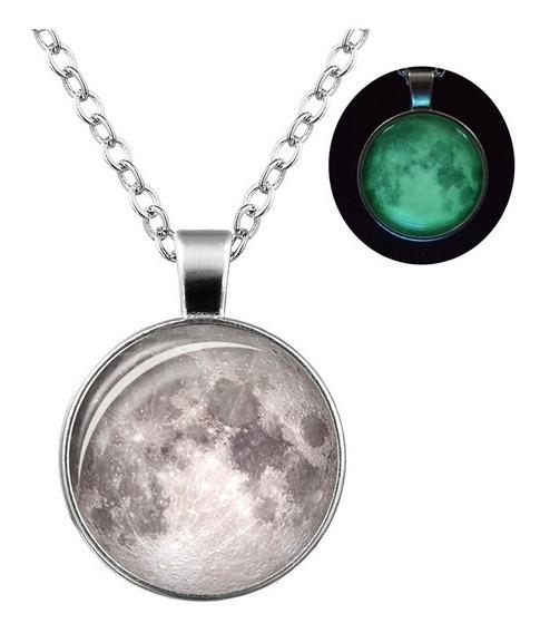 Hermoso Collar Luna Llena Brilla En La Obscuridad Galaxy