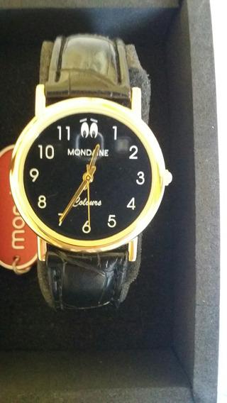 Relógio Mondaine Unisex Preto/dourado Novo Na Cx Promoção.