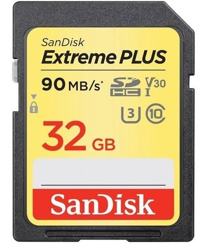 Imagem 1 de 3 de Cartão Memória Sandisk Sd Hc 32gb Extreme Plus 90mb/s Uhs-i