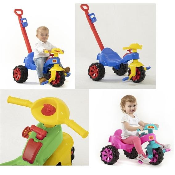 Triciclo Infantil Carrinho Passeio Empurrador Motoca Verde