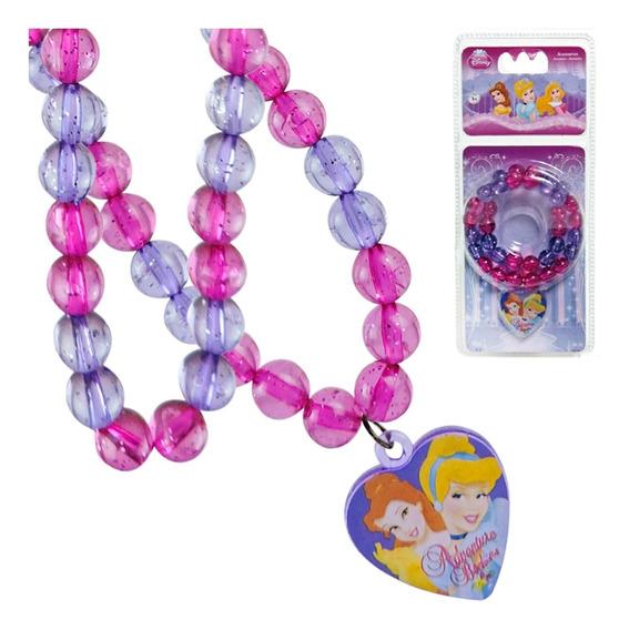 Colar Infantil Princesas Disney Com Pingente De Coração