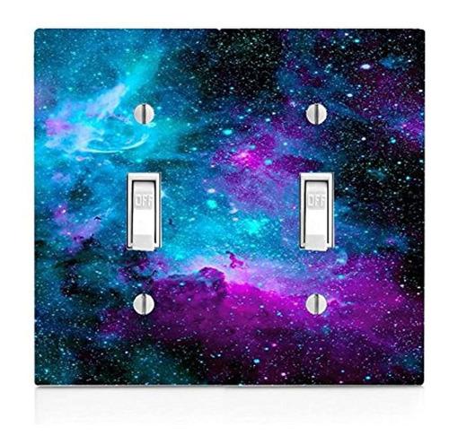 Placa De Interruptor De Luz Doble Con Diseño De Nebulosa