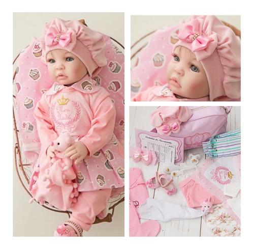 Imagem 1 de 9 de Bebê Reborn 21 Itens Princesa Boneca Senta Silicone Bolsa