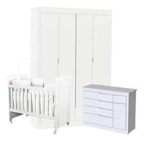 Quarto De Bebê Cléo Branco Acetinado - Carolina