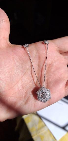Colar Prata 925 Com Pingente Em Pedraria E Estrelas Zircônia