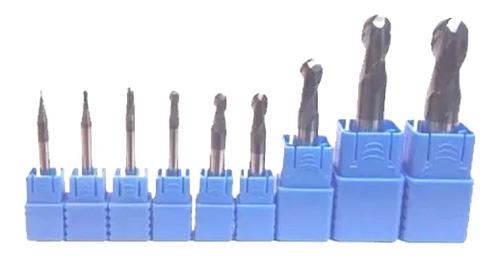 Set 9 Fresas Esfericas Revestidas Metal Duro Endmill