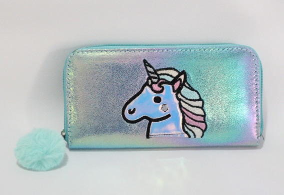 Billetera Tornasolada Unicornio C/bordado Brillos Y Pompón