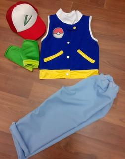 Disfraz Pokemon Ash Chaleco Polar Completo Con Accesorios