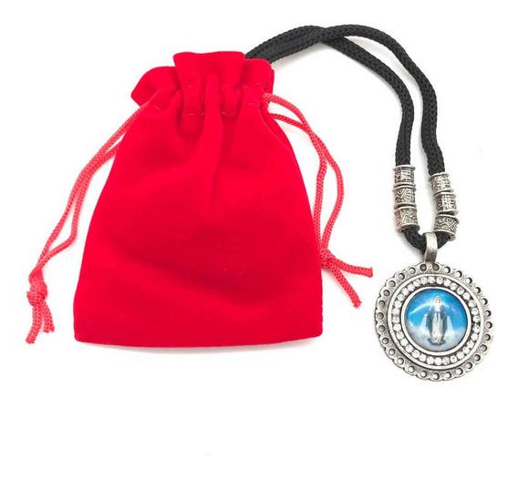 Cordão Medalha Strass Nossa Senhora Das Graças Prata Velha