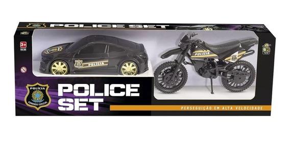 Kit Brinquedo Carro E Moto Set Police - Bs Toys
