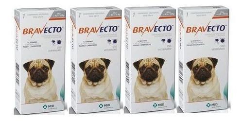 Kit Com 4 Antipulgas Bravecto Para Cães De 4,5 A 10 Kg - 250