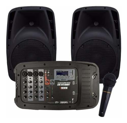 Kit Caixa De Som Amplificada Novik Evo 410 Handy Completa