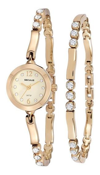Relógio Seculus Feminino Analógico Dourado 20454lpskdb1k1