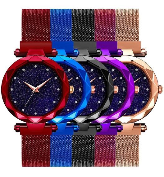 Kit 3 Relógios Femininos Revenda Pulseira Magnética Ímã Luxo