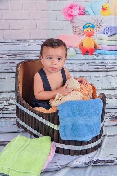 Banheira Infantil Para Fotografia Todo Feita De Madeira