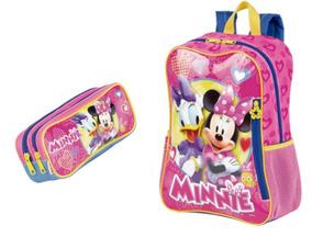 Minnie Mochila Infantil Escolar Menina 64986 + Estojo 64989
