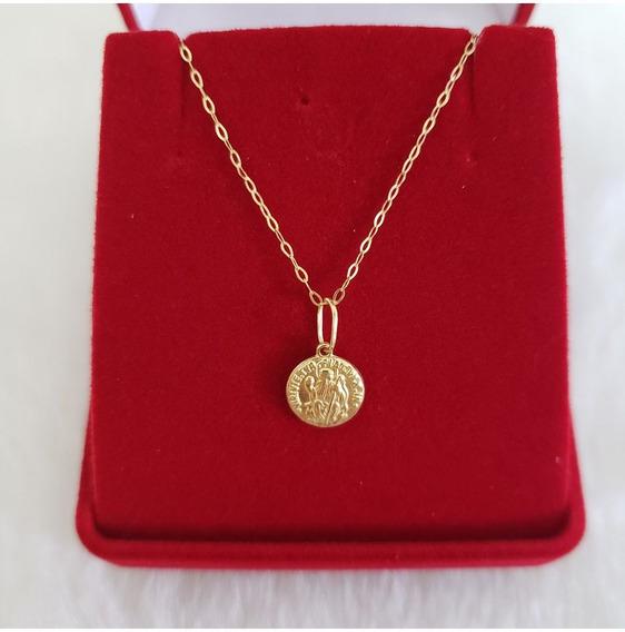 Cordao Colar + Medalha Sao Bento Ouro 18k