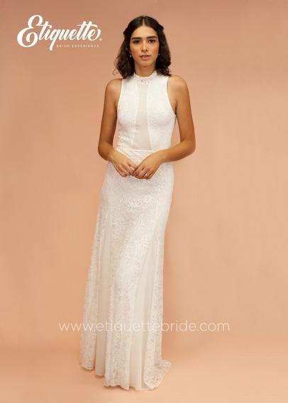 Vestido De Novia Boda Civil Cocktail Economico Bonito Blanco