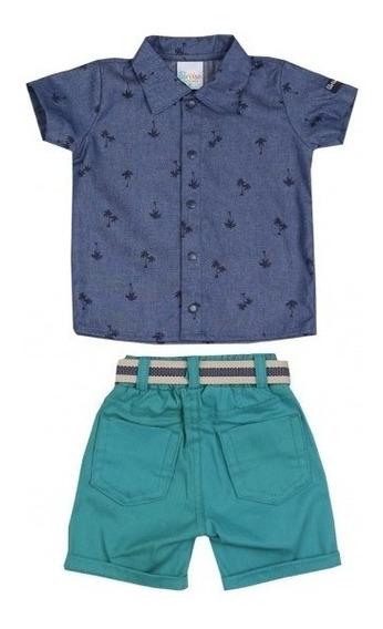 Conjunto Paraíso Camisa E Bermuda Verde C/ Cinto Cód: 772