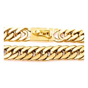 Pulseira Masculina Ouro 18k Elo Grumet Duplo 75g Maciça 0005