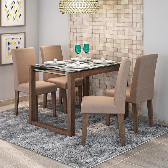 Conjunto Mesa De Jantar Anita Com 4 Cadeiras Milena   Cimol