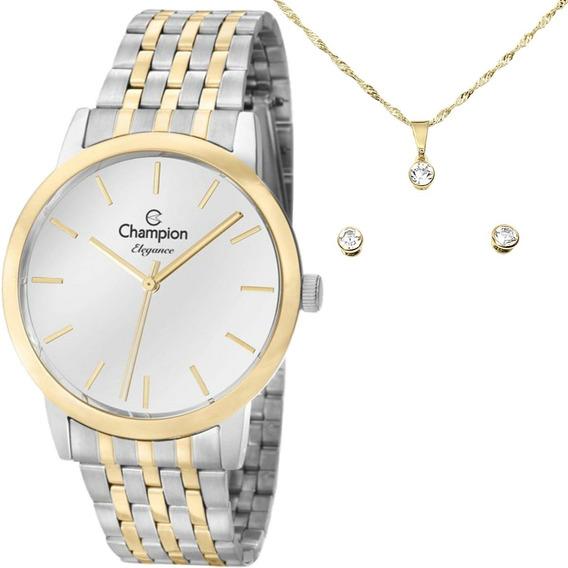 Relógio Champion Feminino Kit Colar Par De Brincos Cn27732c