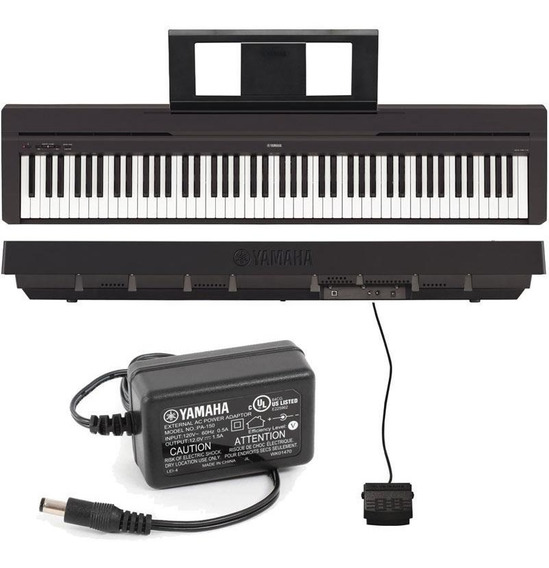 Piano Digital Yamaha P45 Preto + Fonte + Pedal Sustain + Nf