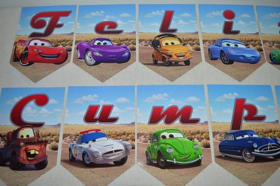 Banderines Feliz Cumple Cars × 11 U.