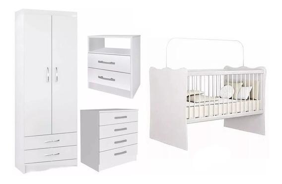 Juego Dormitorio Infantil Ropero Cuna Cómoda Bebé Blanco