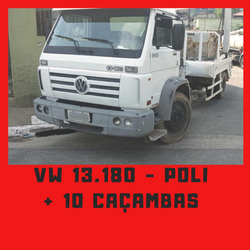 Vw 13.180 Poli + 10 Caçambas Caminhão 2005 Poliguindaste
