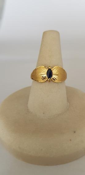 Anel Ouro Amarelo 18kilates Pedra Preciosa Natural Safira!!!